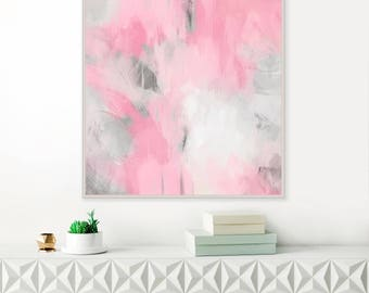Pink Abstract Art, Large Pink Painting, Modern Abstract Print, Original Wall Art, Pink Wall Pictures, Large Wall Art
