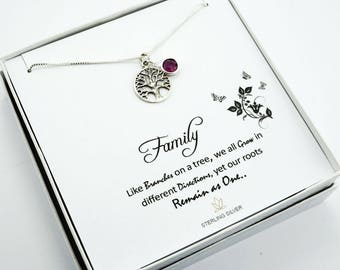 Tree-of-Life Necklace, Family Tree of life, Tree of Life Jewelry, Tree of Life Charm, Sterling Silver Tree-of-Life, Birthstone Necklace