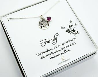 Tree-of-Life Necklace, Family Tree of life, Tree of Life Jewelry, Tree of Life Charm, 925 Sterling Silver Tree-of-Life, Birthstone Necklace