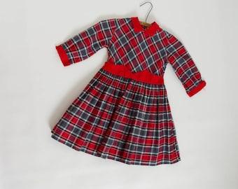 vintage 1950s girl's plaid dress