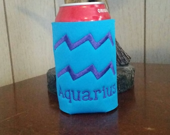 Zodiac Can Cooler, Custom AQUARIUS Embroidered Can Cooler, Birthday Cozie, Embroidery Cozies, Happy Birthday Cozie, AQUARIUS Can Cooler