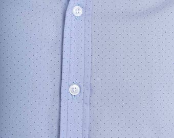 Mens 100% Cotton Long Sleeve Slim Fit Shirt Blue with Blue Dots Print Lightweight Material