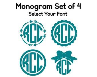 Monogram Bundle Set, Back to School Monogram Set, Monogram Decals, Set of 4 Monograms, Gift for Teen, Circle Monogram, Vine Monogram Decal