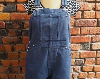 Women's 90s Tommy Hilfiger Navy Blue Denim Short Overalls Size Large