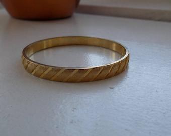 Vintage Gold Tone Etched Monet Bangle Bracelet