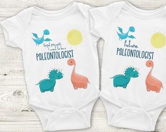 "Paleontologist Baby Onesie - ""Future"" or ""Forget Princess"", Dinosaurs, Dinosaur, Dino, Science, Paleontology"