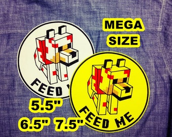 Mega Patch Minecraft Dog with Feed Me - Size can be chosen- Iron on Patch
