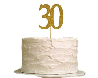 30 Cake Topper, 30th Birthday Cake Topper, Gold Glitter Flirty 30 Cake Topper
