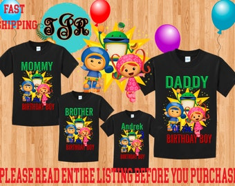 TEAM UMIZOOMI Boy birthday Family Black Theme Shirts Mom Dad Brother and More Vacation Long Sleeve Short Sleeve Tank tops Toddler umizoomi
