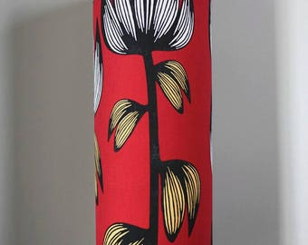 Tall lampshade with floor lamp base option,  funky retro genuine Scandinavian fabric, handmade by vivid shades, floral flower red pattern
