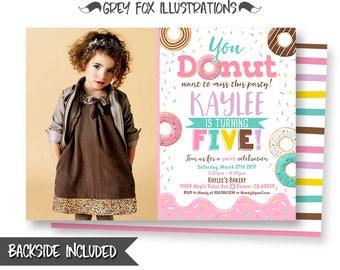 Donut Picture Invitation, Donut Birthday Invitation, Donut Social Invitations, Pink Donut Invitation, Donut Party, Printables, Digital