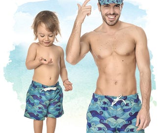 Father And Son Swimwear, Matching Bathing Suit, Navy Blue Shorts, Matching Daddy And Me Trunks, Set Of Shorts, Summer Pants, Boys Swimsuit