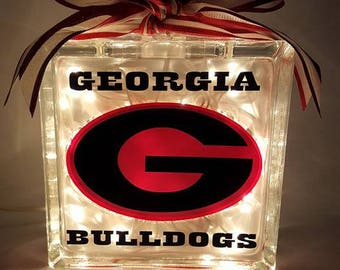 Georgia Bulldogs Lighted Glass Block