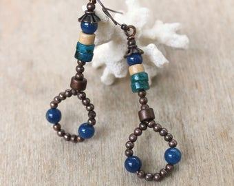 Agate • blue • copper Chrysocolla jewelry ethnic jewelry Bohemian jewelry • • • • rustic earrings ethnic jewelry • ocean blue
