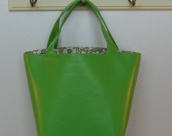 Gorgeous Handcrafted Faux Leather Lime Green Tote Bag