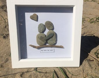 "Contemporary Pebble Artwork - Hand-Made using pebbles from the Cornish Coast. Couple together with heart shaped pebble ""You are my rock"""