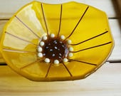 Fused Glass Flower Circle Bowl, Yellow, Irregular Edges