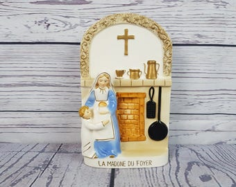 Vintage Homestead Madonna La Madone du Foyer Religious Home House Mother & Child Porcelain Wall Hanging Art Gift Catholic Shower Christian