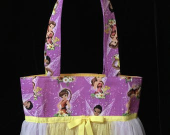 Tutu Tote Bag with Tulle Skirt - Purple with Fairies