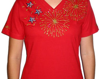 Patriotic shirts, rhinestone July 4th shirt, women's T-shirts, bling firework shirts, rhinestone bling shirts, bling t shirt