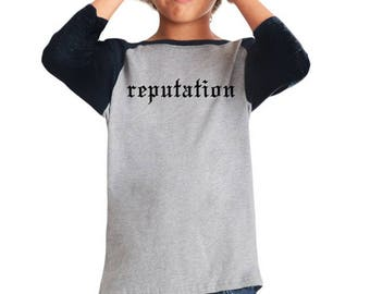 Taylor Swift, Kids T-shirt, Reputation Shirt, Girls Gift, Taylor Swift Gift, Baseball Tee, Taylor Swift Fan, Fan Gift, Girl Birthday Gift,