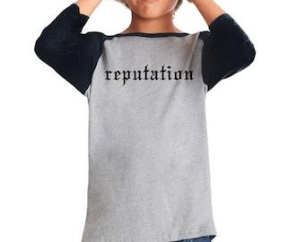 Taylor Swift, Kids T-shirt, Reputation Shirt, Girls Gift, Taylor Swift Gift, Baseball Tee, Taylor Swift Fan, Fan Gift, Girl Birthday Gift,