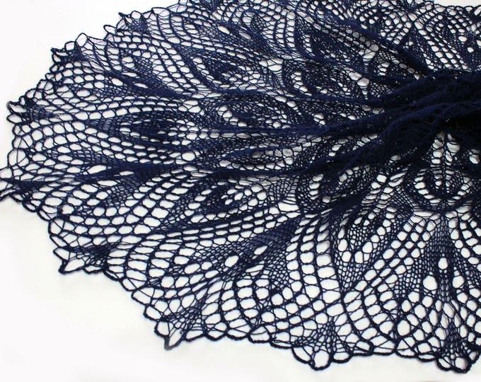 Knitted shawl, handknit shawl ,dark blue shawl, knit scarf, triangular scarf, openwork scarf, knitted scarf, wedding shawl, crochet shawl