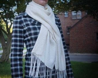 Handwoven Ivory Scarf - Soft Cream Luxury Cotton Scarf with Fringe