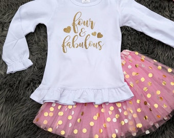 Four and fabulous birthday outfit, 4th birthday tutu, fourth birthday shirt long sleeve outfit, 4 years old