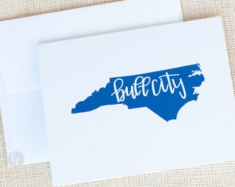 Durham, NC Bull City Folded Cards and Envelopes - NC Stationery -  Durham Notecards - Bull City Gift - Hostess Gift - State Stationery