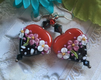 Heart Lampwork Earrings, Red/Black & White Polka Dot Earrings, Lampwork Jewelry, SRA Lampwork Jewelry,  Gift For Her