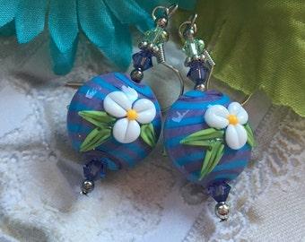Flower SRA Lampwork Earrings, SRA Lampwork Jewelry, Gift For Her, Floral Earrings