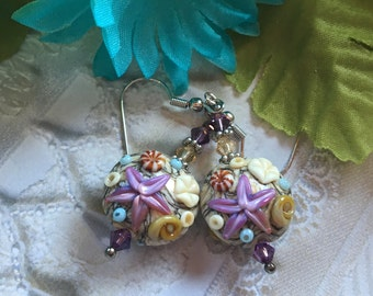 Sand Color SRA Lampwork Earrings, Lampwork Earrings, Lampwork Jewelry, Starfish Earrings, Gift For Her, SRA Lampwork