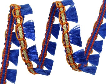 Blue And Orange Fringe Trim, Braided Fringe Trim, Upholstery Trimmings, Curtain Trim, 12.7 mm Wide Ribbon By 18 Yards FRT568E