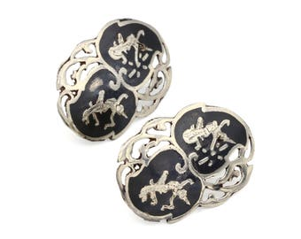 Black Enamel Studs, Antique 30s Stud Earrings, Siam Filigree Earrings, 925 Sterling Silver, Asian Oriental Jewelry, Thailand Niello Jewelry
