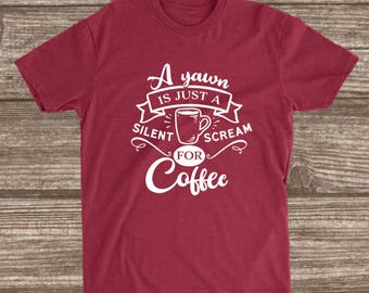 Silent Scream for Coffee Cardinal Red Unisex T-shirt - Coffee Shirts - Funny Coffee T-shirts - Coffee Humor