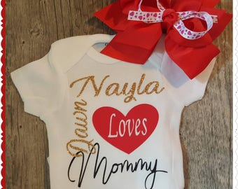 Preemie, Newborn, and Up, Personalized, Loves Daddy Onesie or Tee - FREE BOW INCLUDED (Bows will vary - but will be super cute)