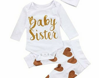 Baby Sister, Hearts, 3 Piece, Pant Set
