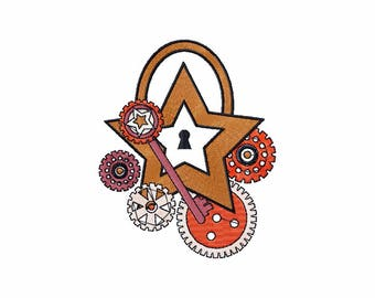 Steampunk Star - Steampunk #10 Machine Embroidery Design - Five Sizes: 3.5 to 5.5 inch - Instant Download!
