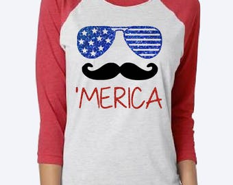 womens 4th of july shirt - womens fourth of july shirt - womens america shirt - women merica shirt - merica - 'merica - 4th of july baseball