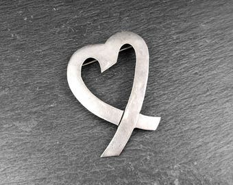 Sterling Silver Large Heart Brooch | Vintage Women's Pin