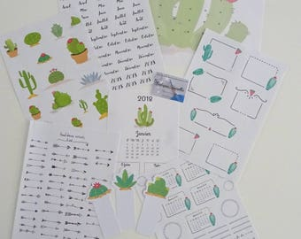 "Starter kit et autocollants pour bujo 2018 Collection ""CACTUS"""