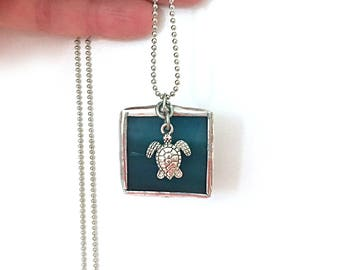 "Sea Turtle Stained Glass Square Necklace  - 30"" 1.5mm Ball Chain. Great Gift! Handmade in Greenville SC"