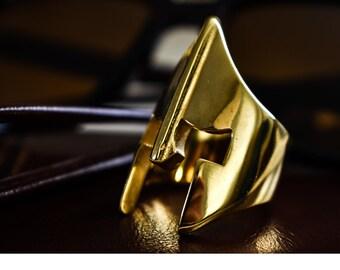Spartan Helmet Ring in 18 kt gold plated STEEL