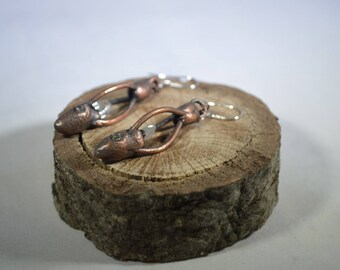 Utah Topaz Crystal,Demantoid Garnet,Copper Electroformed Earrings/Electroformed Jewelry/Raw Organic Crystal/BOHO Jewelry/Unique Earrings