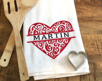 Personalized Valentines Day Kitchen Towel - Ornate Personalized Heart Flour Sack Towel - Engagement Gift - Newlywed Bridal Shower Gift