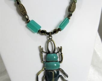 """Beetle Enameled teal beetle Insect necklace set, Teal & brass beetle, Teal beetle pendant 24"""" necklace set with 1.25"""" dangle earrings, 5-10"""