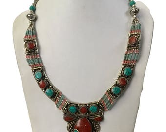 Authentic Turquoise Coral Necklace