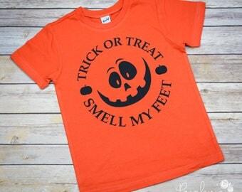 Trick or Treat - Boy Halloween Shirt - Boys Halloween Shirt - Boys Shirt - Halloween Shirt - Halloween Tee - Smell My Feet - Jack O Latern