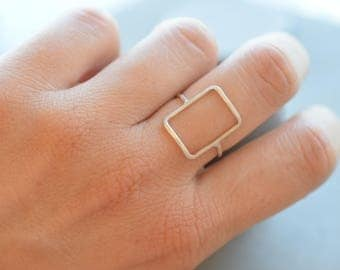 Rectangle Sterling silver ring, skinny geometric ring. 1 mm sterling silver ring, gift for her